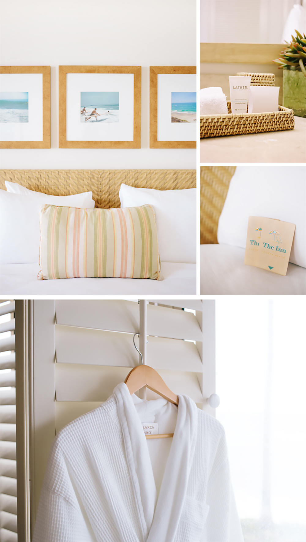 Beach-inspired rooms with eco-friendly products and plush cotton robes.