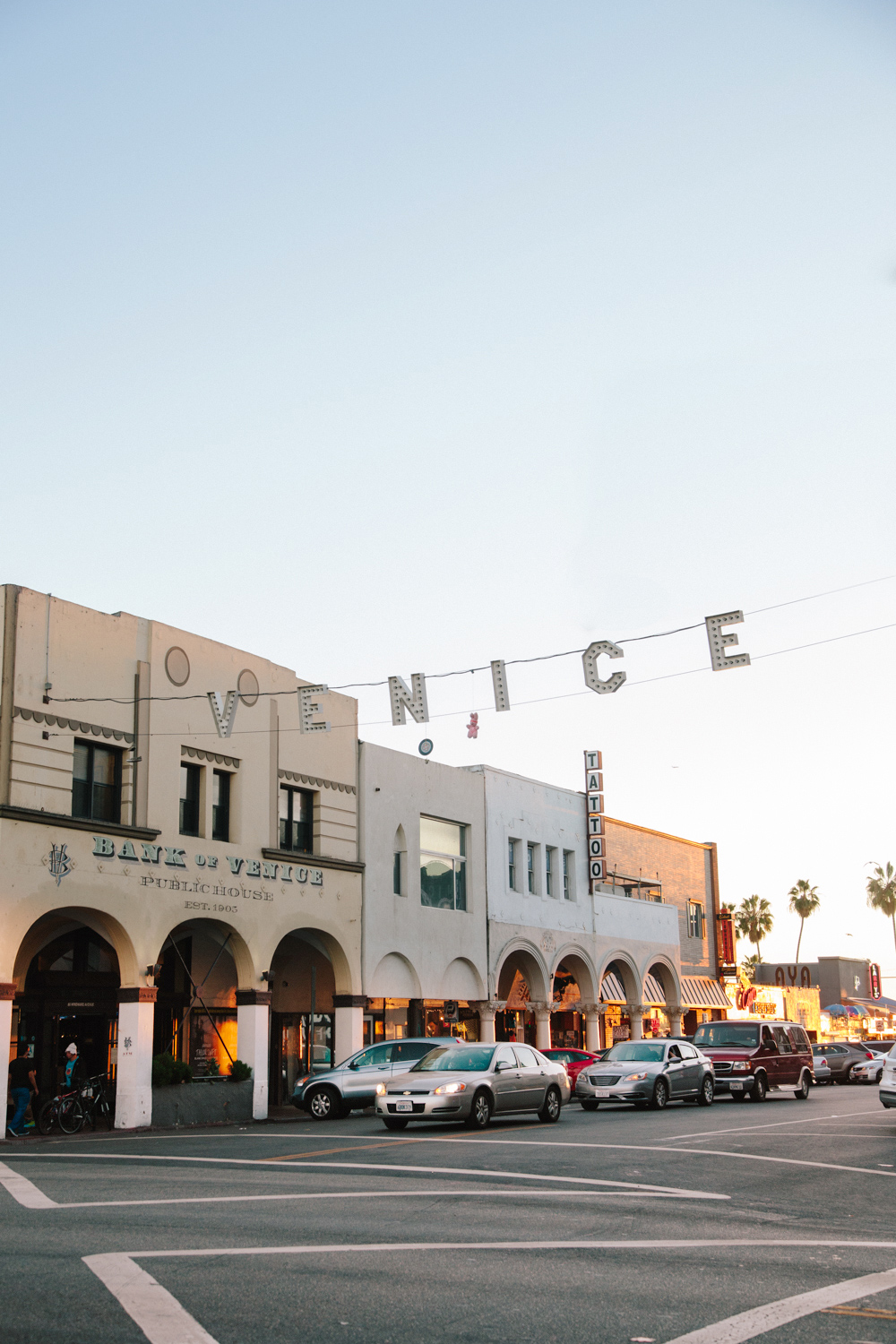 The iconic Venice sign at dusk.