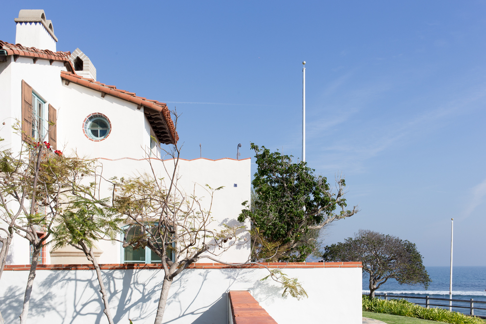 The Adamson House sits just in front of famed Surfrider Beach.