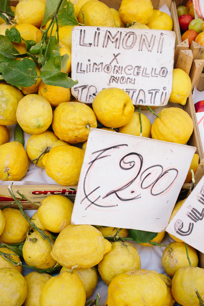 Sorrento lemons everywhere. All limoncello produced in Sorrento is held to a rigorous standard