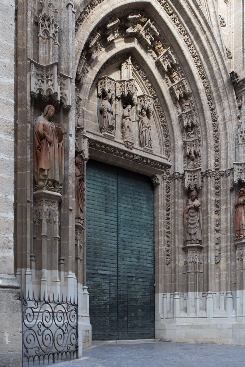 Doorway details at the Seville Cathedral, also known as the burial site of Christopher Columbus