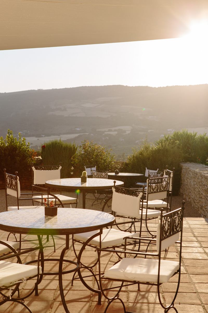 More seating on the patio of Hotel Arriadh to enjoy the golden light.