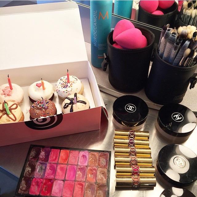 Celebrating my birthday while on-set