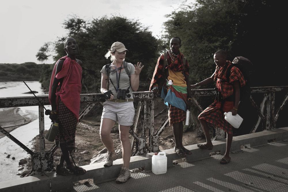 Camel Trekking Safari - on the Barsalinga Bridge over the Ewaso Nyiro River