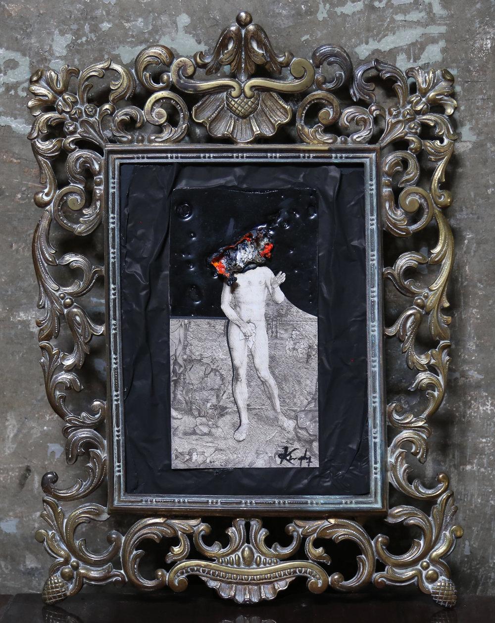 Solicitude - Oil, Paper, Tin & Antique Frame 28cm x 36cm