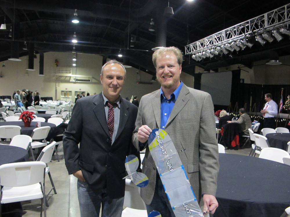 Inventor of the IFO, Dan Kreigh (left), and Mason Hutchison (right).