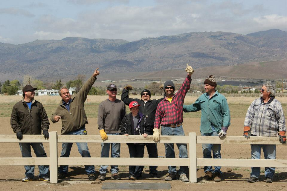 The members that built the field.  Left to Right: Kent Beal, Bill Fisher, Scott Wyatt, Kyle Reed, Matt Reed, Eric Brubaker, Dave Metz, and Bob Golk.  2012, Tehachapi Crosswinds.