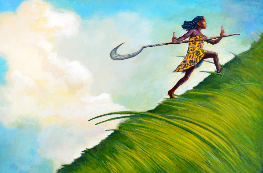 With a wide and smooth swing of the long, hooked blade, Silence began cutting a path through the tall grasses that grew on the mountainside. She worked with a steady rhythm and with the strength of trees as ancient as night. Sun had scarcely climbed to the navel of the sky when she reached the top of the mountain.