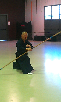 Soke demonstrating his naginata technique