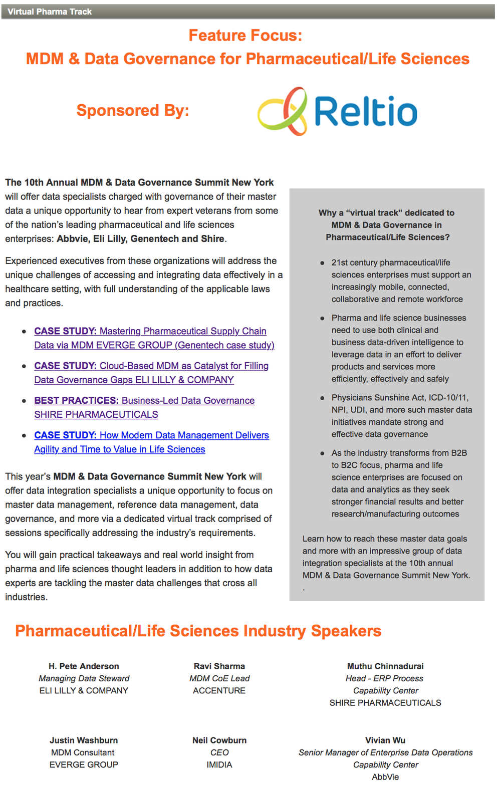 Reltio Sponsors Pharma Track at MDM Summit NYC 2015
