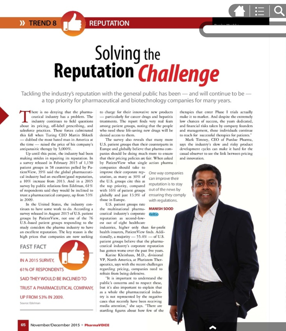 Reltio CEO Pharma Voice December 2015