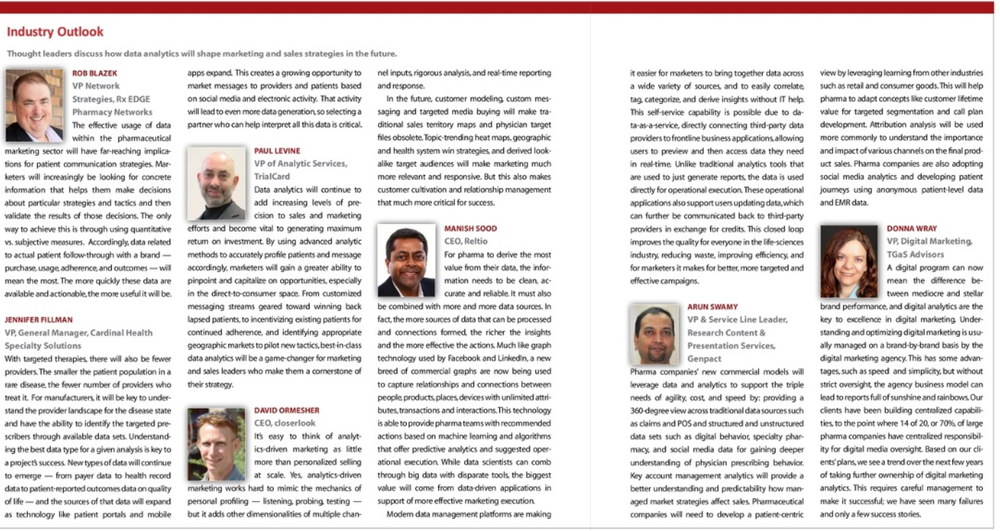 Reltio CEO PharmaVoice Dec 2015 - 2016 Outlook
