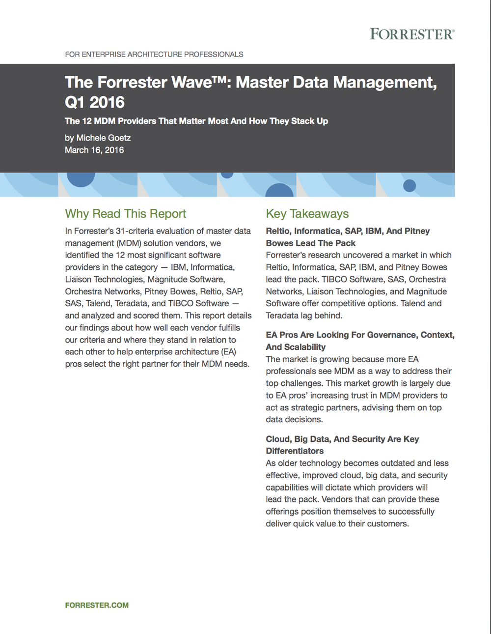 Reltio Named a Leader in Forrester MDM Wave