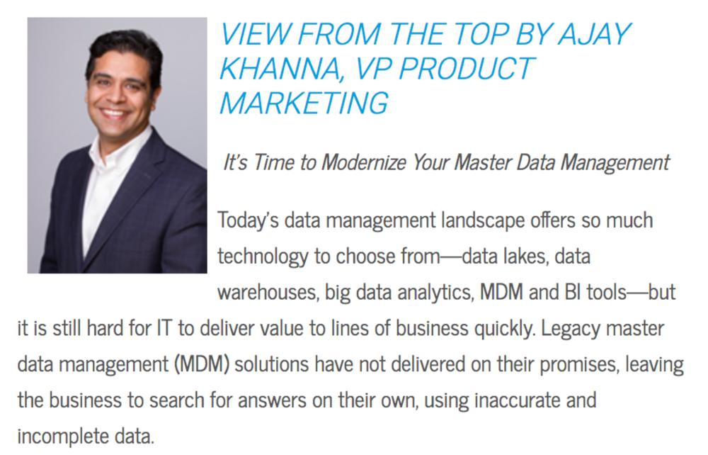 Ajay Khanna, VP Product Marketing, Reltio