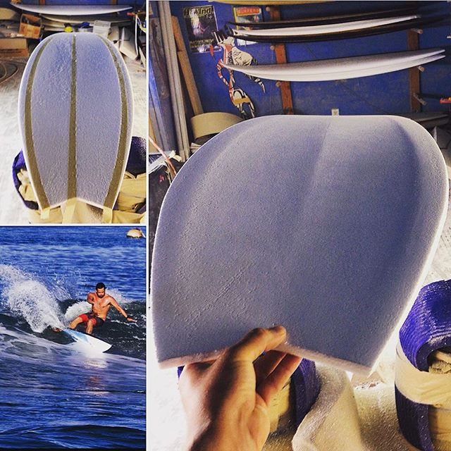 Asked Dave for something different and this is what we've been running with on the #permagrin model. He says its old school, but it feels great and fun to shape. #melsurfboards