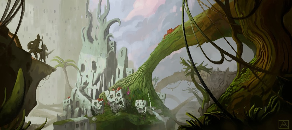 Temple in the Jungle. Environment Concept. 2014.