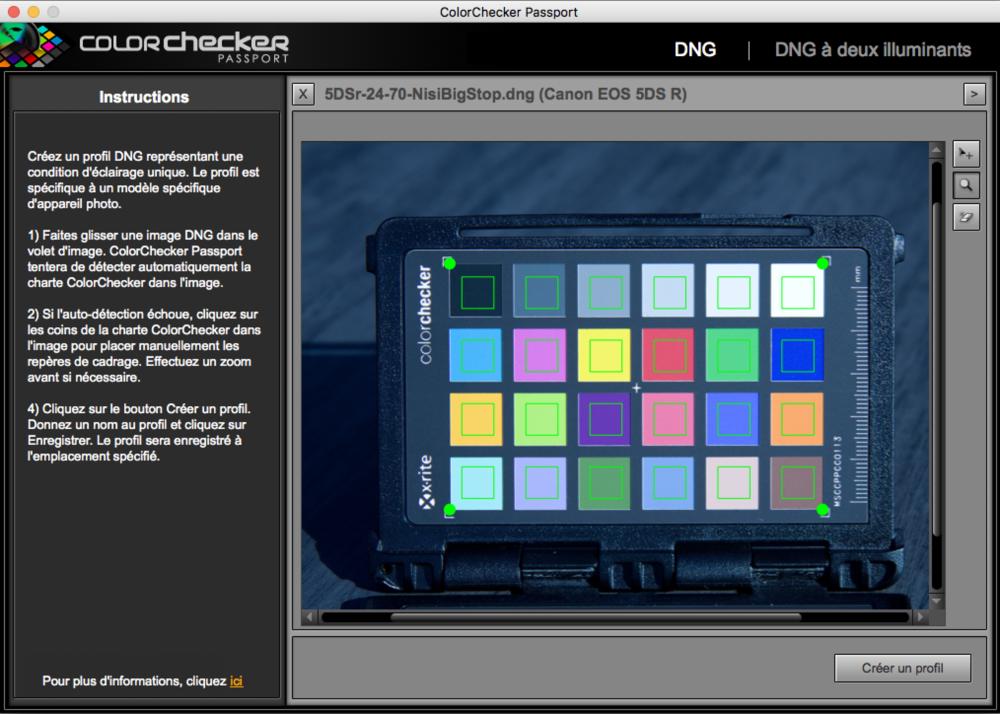 Image DNG importée dans l'application ColorChecker Calibration. L'application à automatiquement reconnue et ciblée la mire