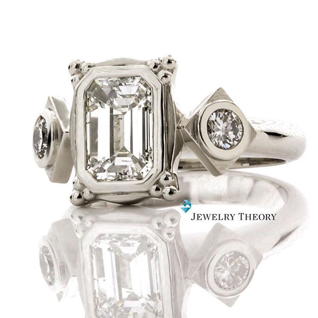 The client was looking for a more post modern, art deco look.  Definitely one of a kind!⠀ ⠀ ⠀ ⠀ ⠀  #artdeco #diamonds #diamond #finejewelry #deco #jewelrydesign #sparkle #engagementring #oneofakind #diamondswithsoul #collection #theknotrings #diamondring #ring #wedding #engaged #love #bride