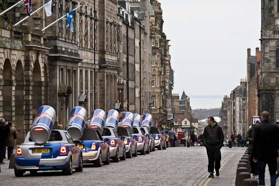 "Red Bull ""Wings"" team in Edinburgh"
