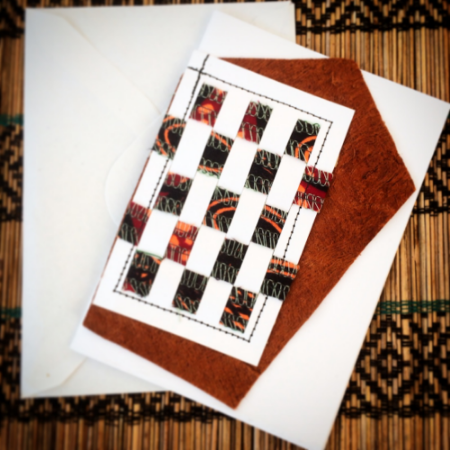 Woven workshop greeting card with Ankara and Ugandan Bark Cloth