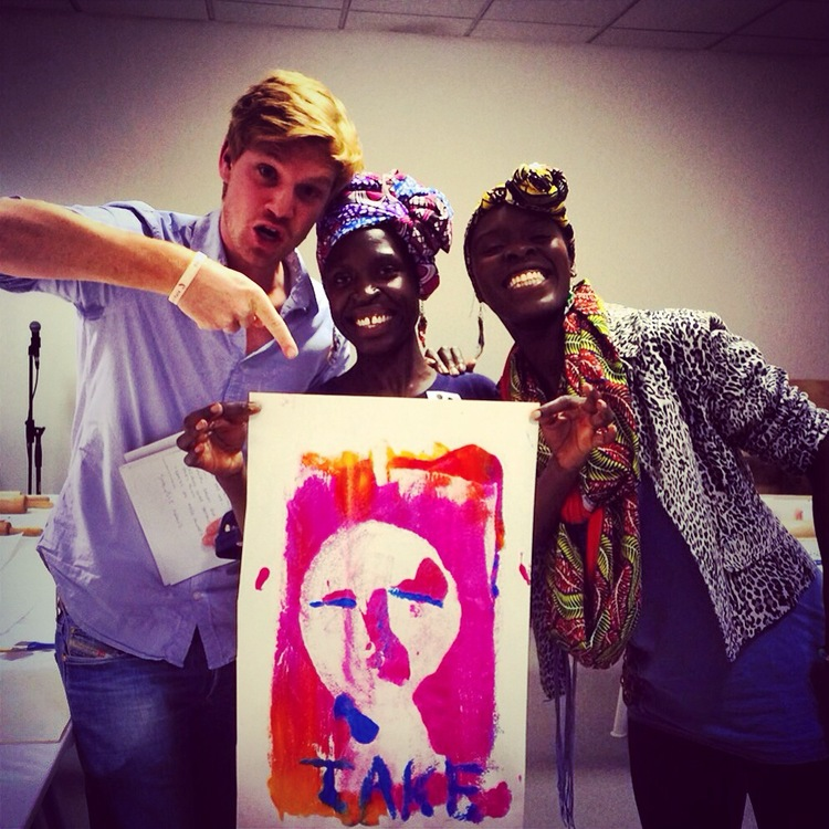 Jake Tupman with AfroRetro's Lilly & Anna; reporting for London Live at Mono Print Your Life, The School of Uganglish.