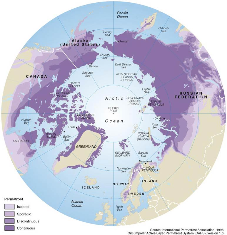 Global distribution of permafrost