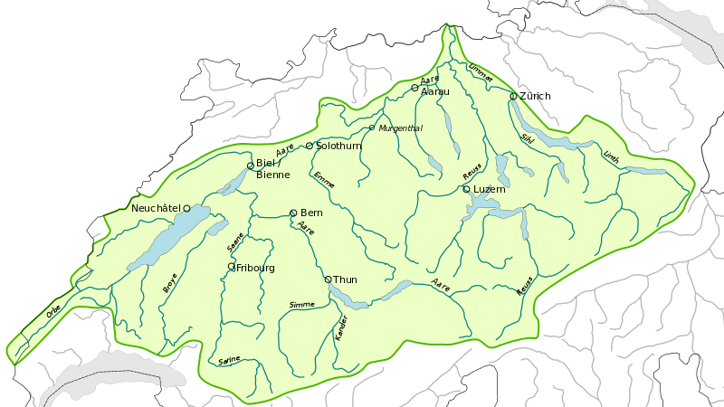 The Aare River Basin, northern Switzerland.