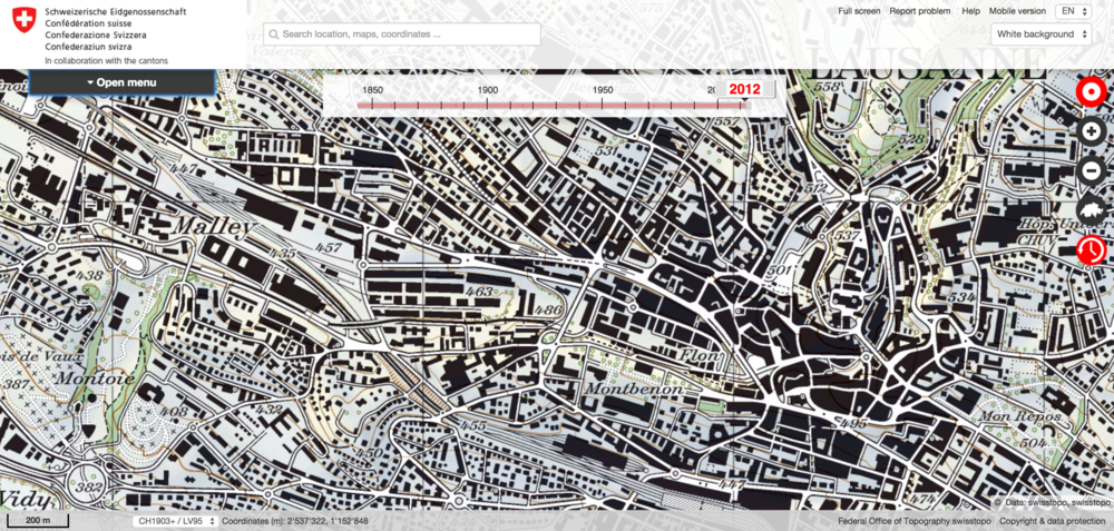 Click on the image to explore historic maps of the Flon urban area.