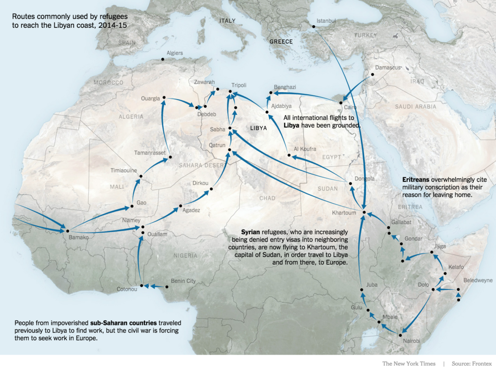 Routes commonly used to reach the Libyan coast
