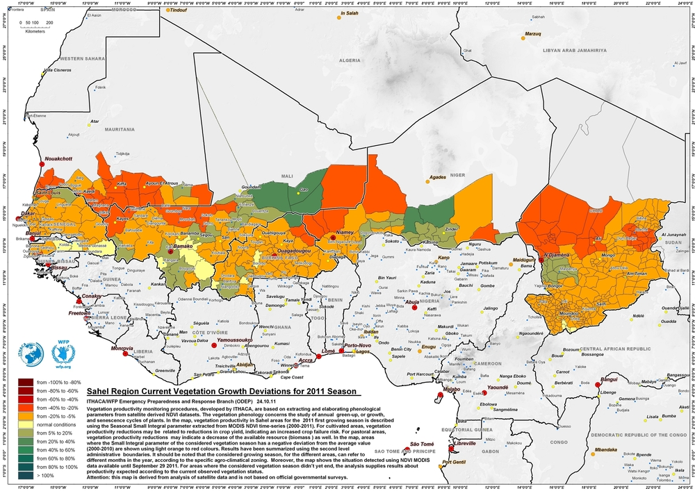 Map showing the Sahel region and changes to vegetation cover during 2011