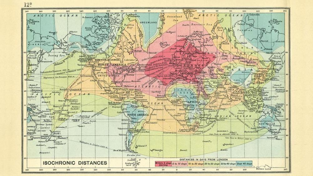 Isochronic map showing time taken to travel certain distances