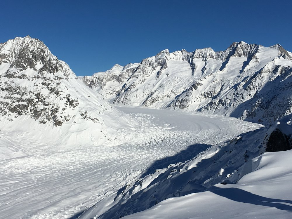 Europe's largest glacier, The Aletsch, in winter / Eastern Bernese Alps, Valais, Switzerland.