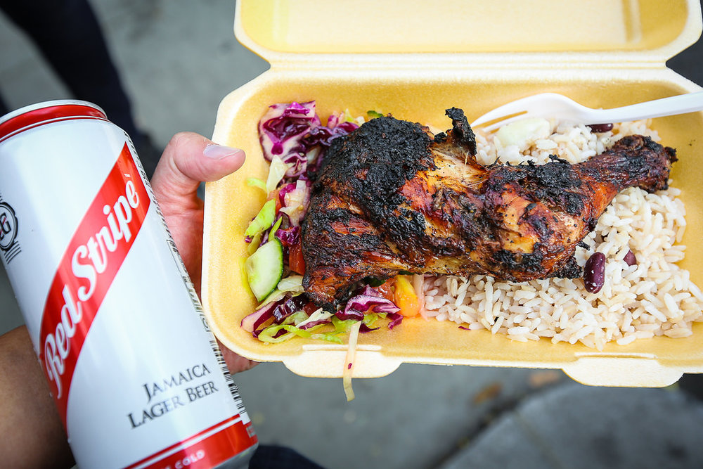 Jamaican jerk chicken is a popular form of street food in the UK ( Source )