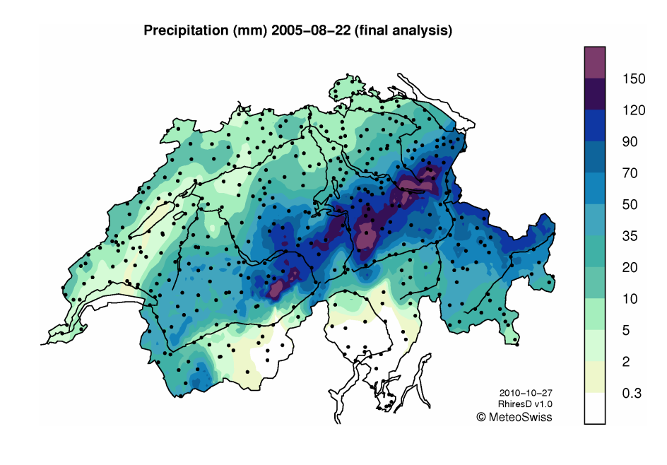 Up to 200mm of rainfall was received on the northern side of the Alps in 24hrs on the 22nd August, 2005. [ Source ]