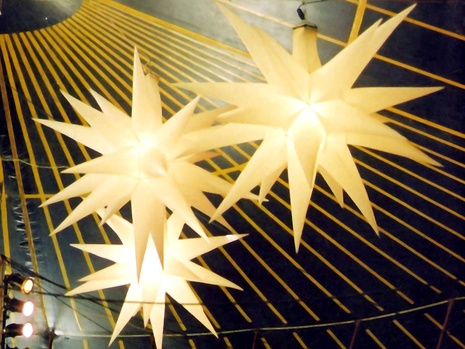20-pointed Stars (white) Popular lightweight décor in tents at outdoor events or to frame stages, supplied with an internal light and available in two sizes. Small - 150cm Diameter: £50.00 Large - 240cm Diameter: £60.00