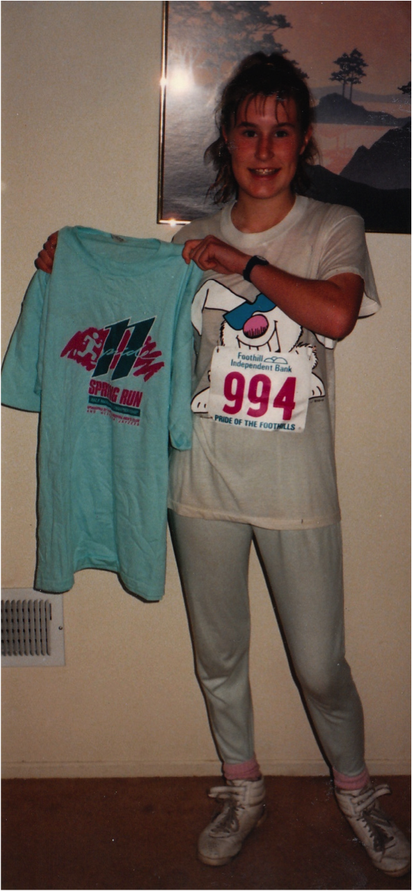 Pam's first 5k at age 14.....Are those LaSportivas?