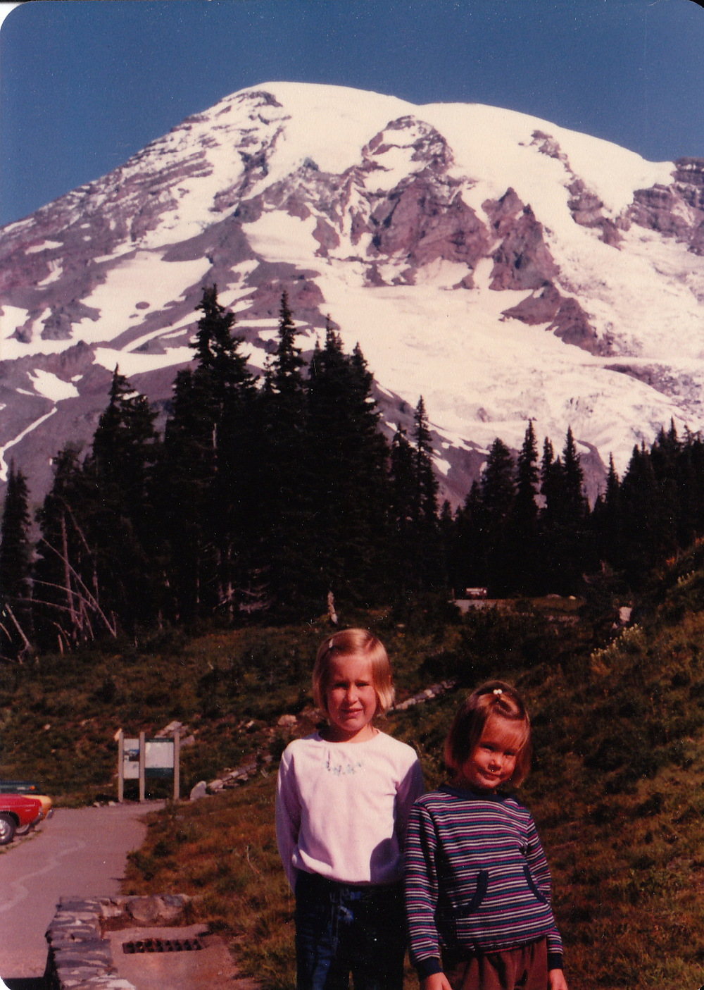 Pam at Mount Rainier, age 8, after getting some training in on the Wonderland Trail.