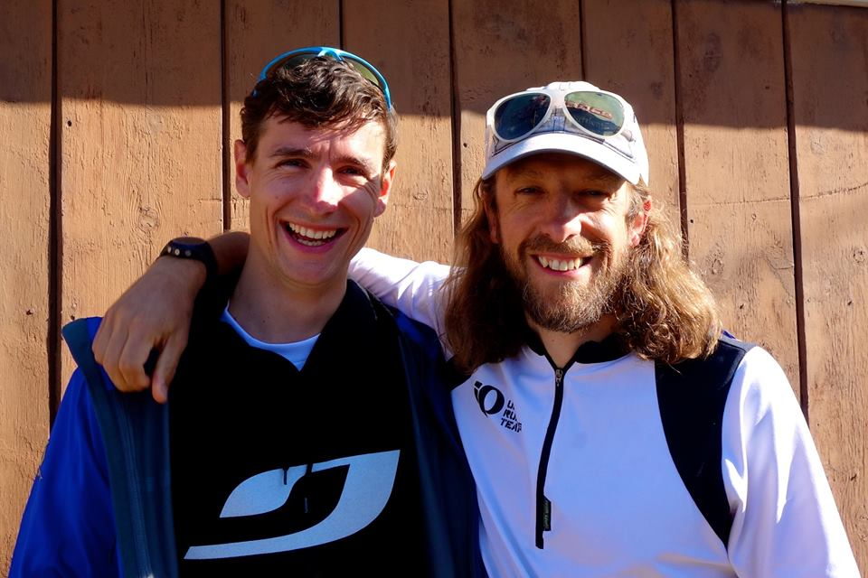 Ian & Nick Clark at the finish of Leadville during Ian's Grand Slam Record!