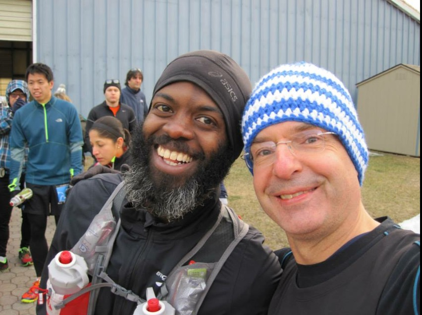 "Rudy is pictured here on the left sporting the ""Is he an ultra runner or is he homeless"" beard. On the right is none other than Jedi Master and TWA Officer, Jürgen."
