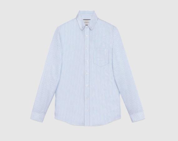 GUCCI Striped Oxford Cotton Shirt $540
