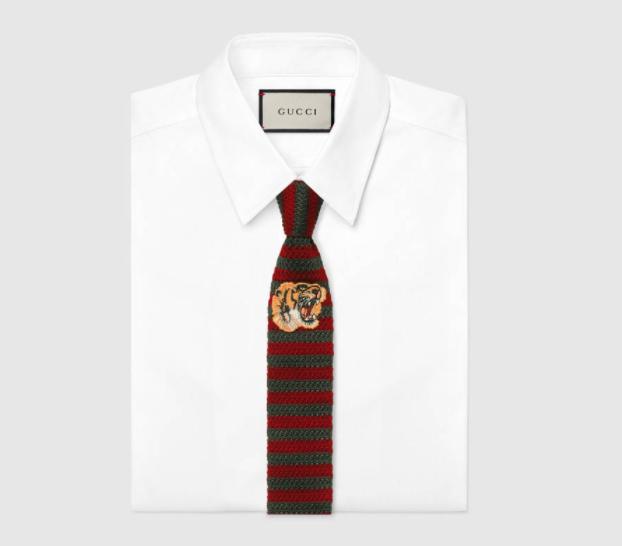 GUCCI Tiger underknot Striped silk tie $260