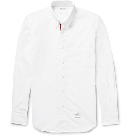 THOM BROWNE Slim Fit Button Down Collar Cotton Poplin Shirt $435