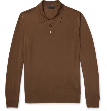 PRADA Knitted Virgin Wool Polo Shirt $930