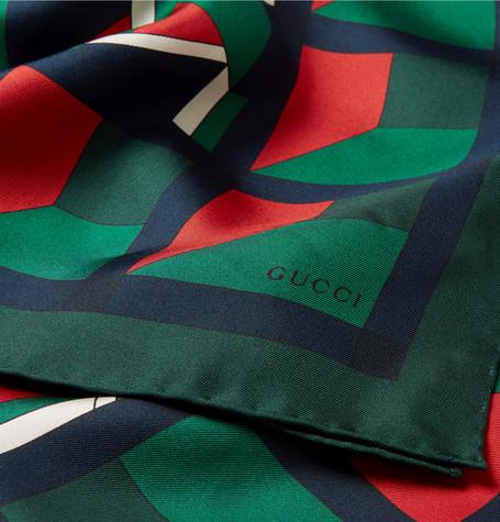 GUCCI Printed Silk-Twill Scarf $450