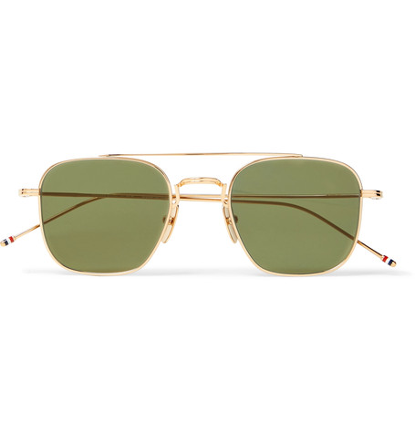 THOM BROWNE Square - Frame Aviator-Style Gold-Tone Sunglasses $575