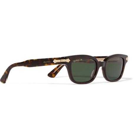GUCCI Square - Frame Tortoise Acetate And God-Tone Sunglasses $620