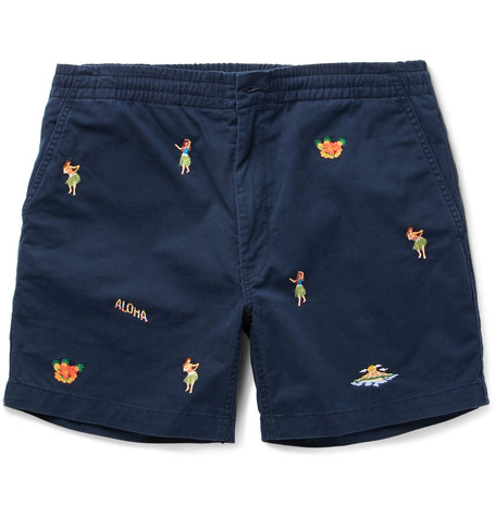 POLO RALPH LAUREN Slim-Fit Embroidered Stretch-Cotton Twill Shorts $70