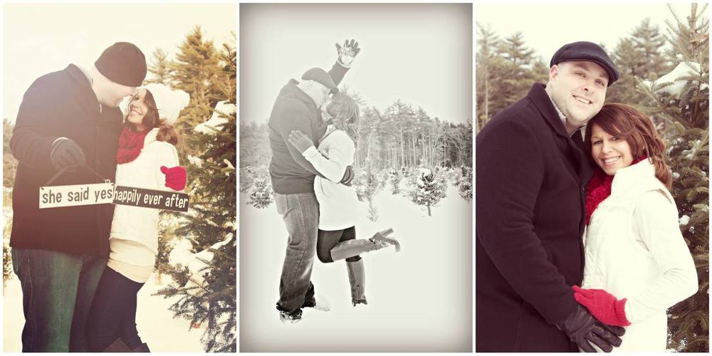 """My fiancé & and I were engaged on Christmas Eve, 2013. For as long as I can remember, I have had a passion for photography and making snapshots of memories along this precious road of life. We are planning a Christmas themed Wedding for December of 2014 and wanted to forever capture this exciting time in our lives. What better way to do this than by having our engagement photos taken at the beautiful Mistletoe Acres Tree Farm in East Bridgewater, Massachusetts. I knew the kind of photographer we were searching for. Someone who I feel puts her whole heart & soul into her work; someone who is creative and pays attention to detail, someone who has an eye for capturing the moment and a talent for making it last forever. After having viewed some of Courtney's work in the past, I just knew she was the photographer for us! On February 8th, 2014 we had our engagement photos taken by Courtney Cook at Mistletoe Acres Tree Farm in East Bridgewater, Massachusetts. The tree farm was absolutely breathtaking and so festive! What a fun, exciting and memorable day! It truly was a day to remember. Not only is Courtney kind, down to earth, creative & talented, but she also shows great ethic and passion for her work. In 30 degree freezing cold weather, after having been out on the tree farm for a couple of hours, and just before we were about to wrap up the shoot, Courtney continued to come up with ideas of shots for us to take. She is so truly genuine in making sure her clients are happy and the photos are just right. She's everything a photographer should be and more, and we are so happy we hired her to take these wonderful snapshots of such a memorable and exciting time in our lives! From our hearts to yours… thank you, Courtney!!!"" Sincerely, Scott & Julie {Engagement photo shoot location: Mistletoe Acres Tree Farm - East Bridgewater, MA}"