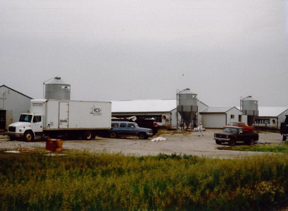 Kinzler truck doing agricultural insulation in the early 1990's