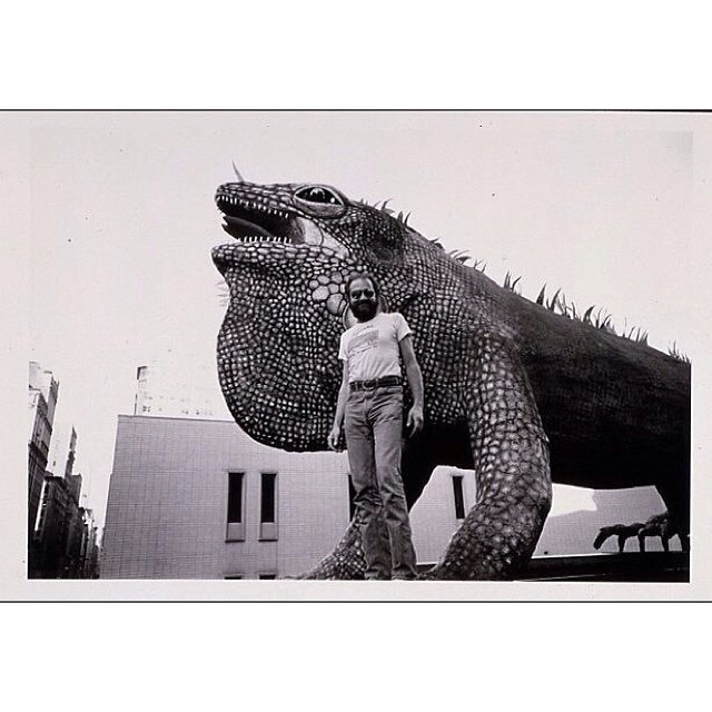 "Bob ""Daddy-O"" Wade with his 40-ft iguana in 1978, which currently resides at the Fort Worth Zoo. @fortworthzoo @anilisa @chiptompkins"